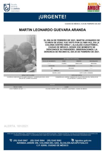 Activan Alerta Amber para localizar a Martín Leonardo Guevara Aranda