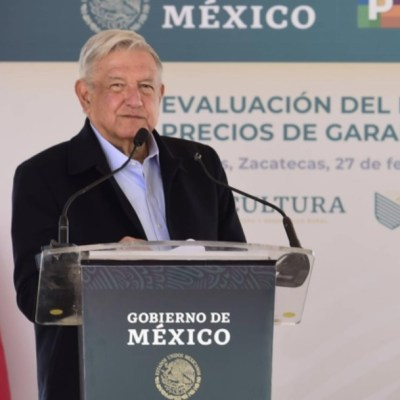 El presidente Andrés Manuel López Obrador durante su visita al municipio de Morelos, en Zacatecas