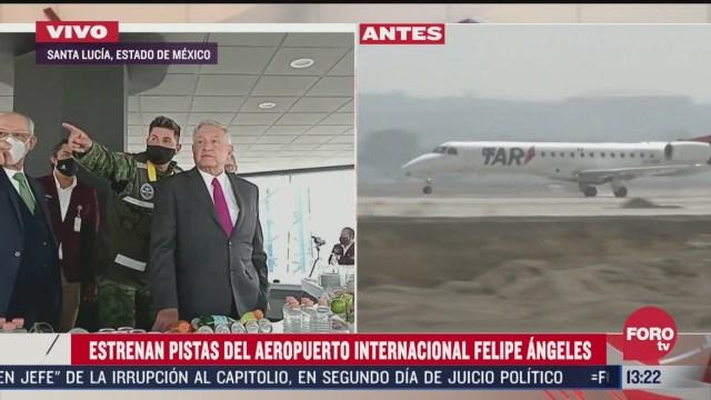 aterrizan primeros aviones comerciales en aeropuerto felipe angeles