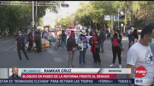 bloqueo en carriles centrales de paseo de la reforma en cdmx