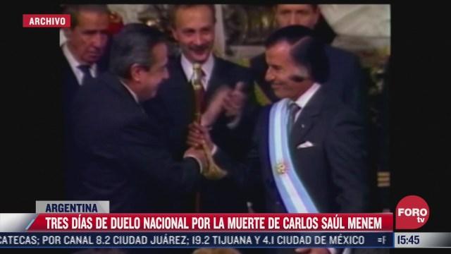 declaran tres dias de duelo nacional en argentina tras muerte de expresidente carlos menem