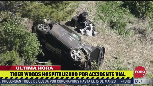 hospitalizan a tiger woods tras accidente vial