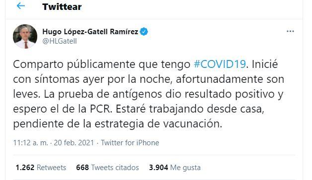 Hugo López-Gatell, subsecretario de Prevención y Promoción de la Salud, informó que dio positivo a COVID-19