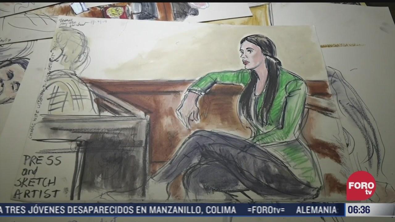 los bocetos de emma coronel durante el juicio contra joaquin guzman loera
