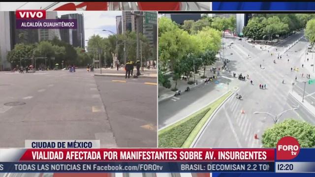 manifestantes bloquean av insurgentes y reforma en cdmx