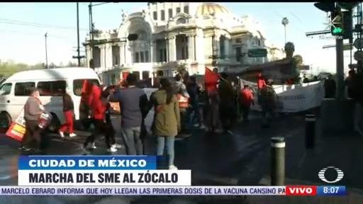 marcha del sme al zocalo de la ciudad de mexico