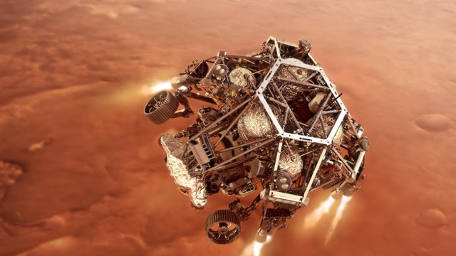 ElroverPerseverancedelaNASAcerca de amerizar en Marte (Twitter @NASAPersevere)