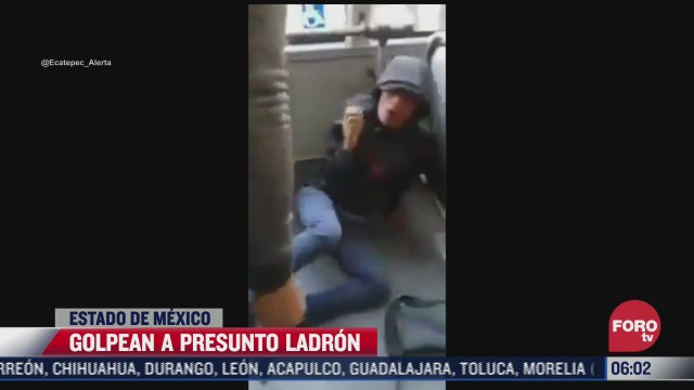 pasajeros golpean a presunto ladron en el mexibus