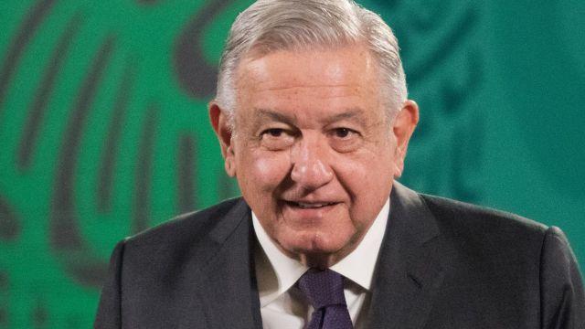 Andrés Manuel López Obrador en la conferencia de prensa en el salón Tesorería de Palacio Nacional.