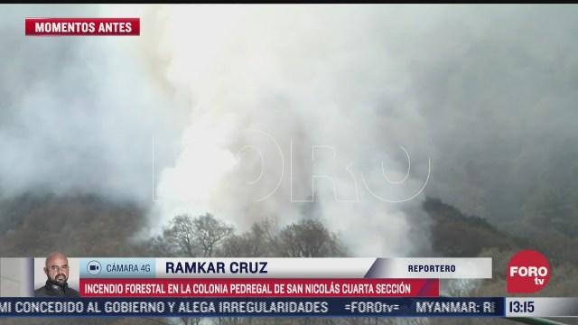 se registra incendio forestal en la colonia pedregal de san nicolas cdmx