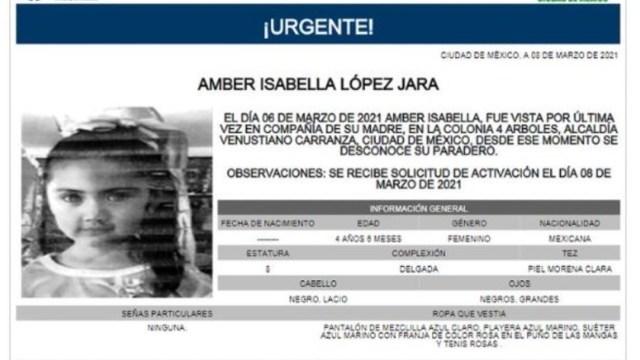 Activan Alerta Amber para localizar a Amber Isabella López Jara