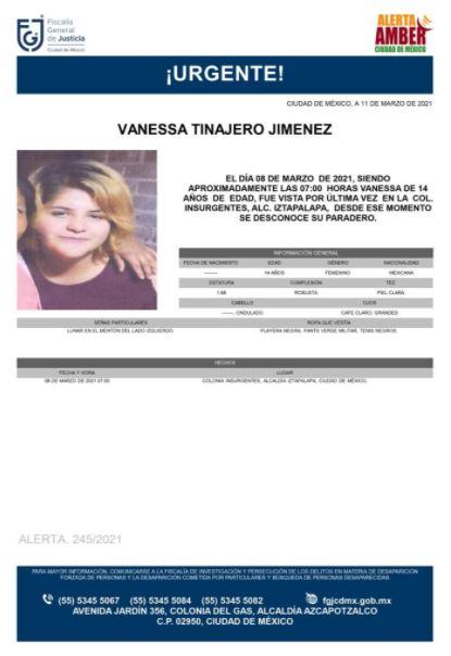 Activan Alerta Amber para localizar a Vanessa Tinajero Jiménez