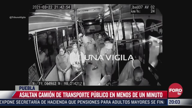 asaltan a pasajeros de transporte publico en menos de un minuto en puebla