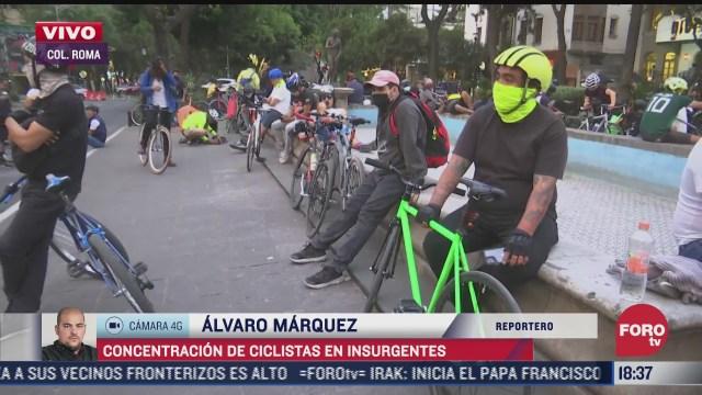 ciclistas se concentran en av de los insurgentes y alvaro obregon