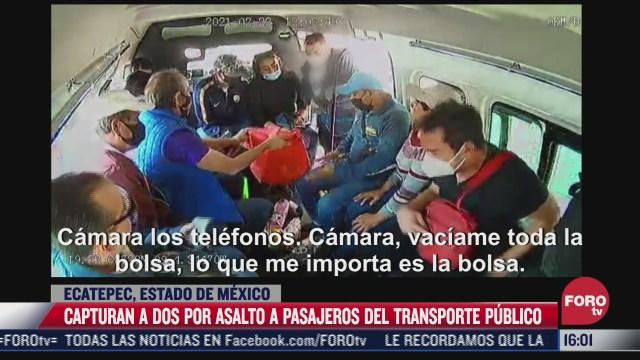 detienen a dos por asalto a pasajeros de transporte publico en ecatepec