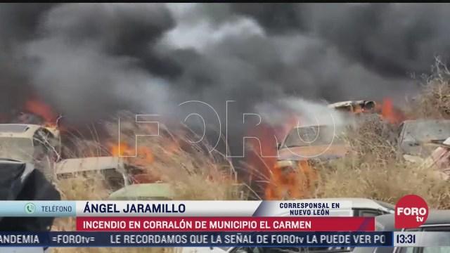 incendio en corralon del municipio el carmen nuevo leon