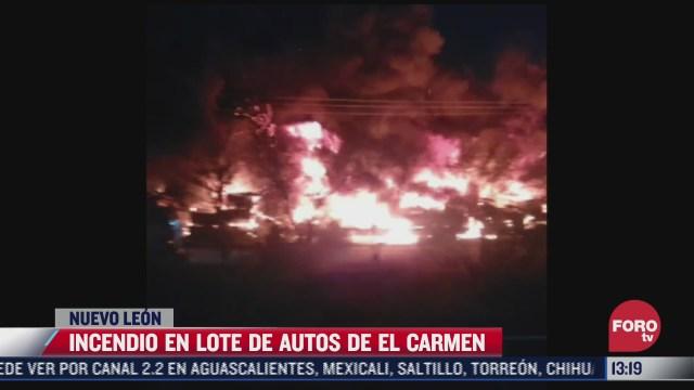 incendio en lote de autos de el carmen nuevo leon