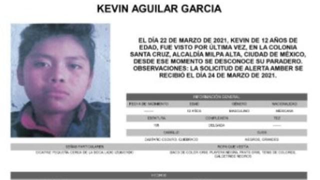 Activan Alerta Amber para localizar a Kevin Aguilar García