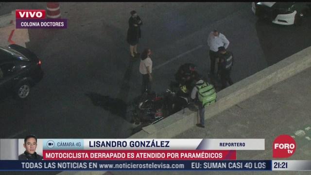 motociclista derrapa en calles de colonia doctores