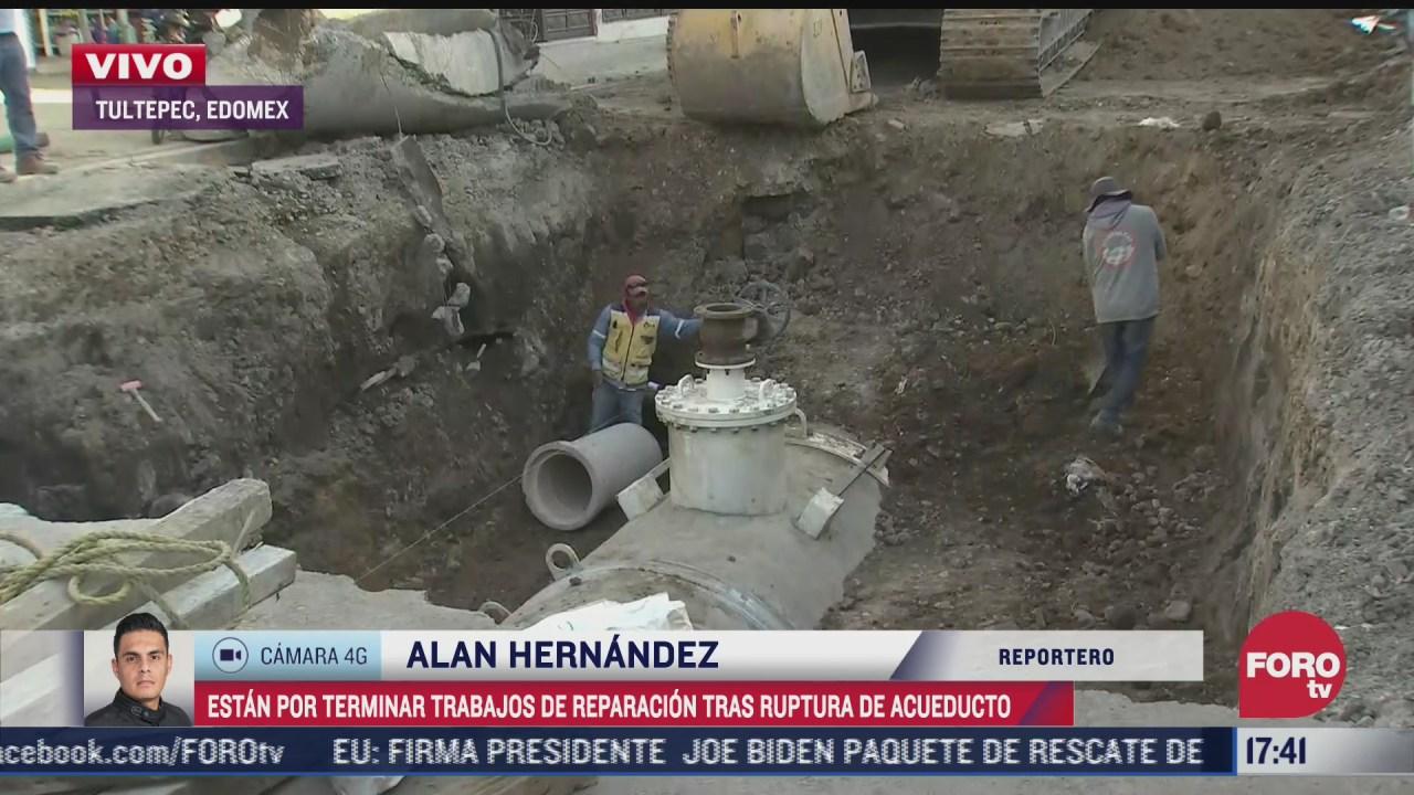 trabajos de reparacion tras ruptura de acueducto en tultepec estan por concluir