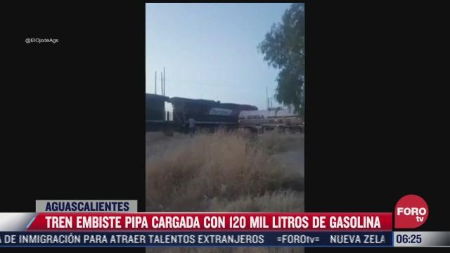 tren embiste pipa cargada con 120 de gasolina en aguascalientes