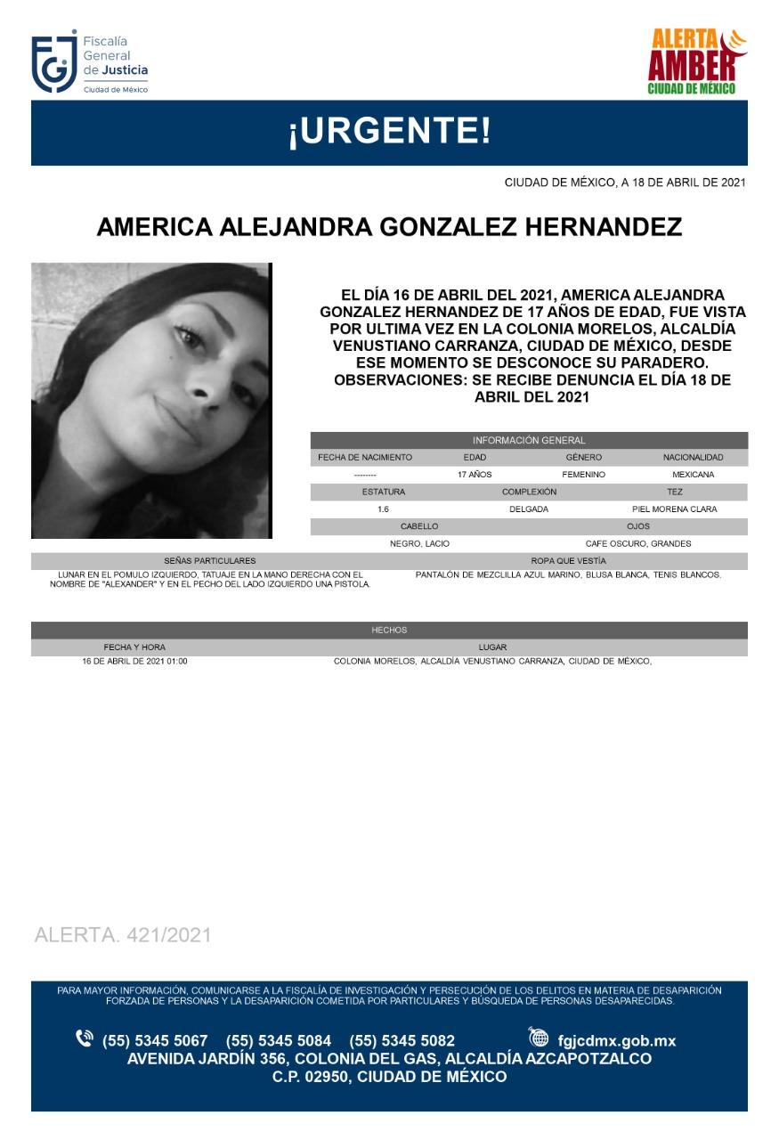Activan Alerta Amber para localizar a América Alejandra González Hernández