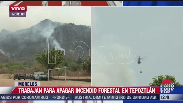aeronaves ayudan a apagar el incendio forestal de tepoztlan