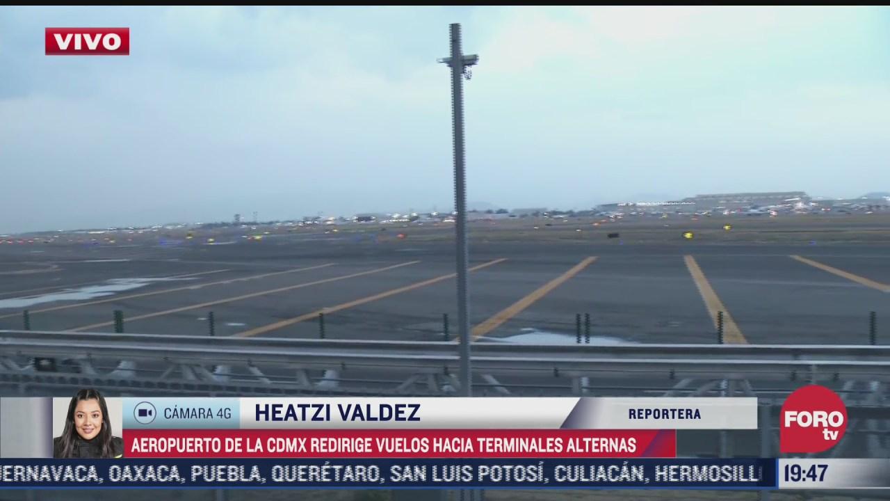 aicm redirige vuelos a aeropuertos alternos por condiciones del clima