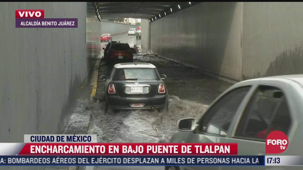 bajo puente de calzada de tlalpan continua inundado en benito juarez cdmx