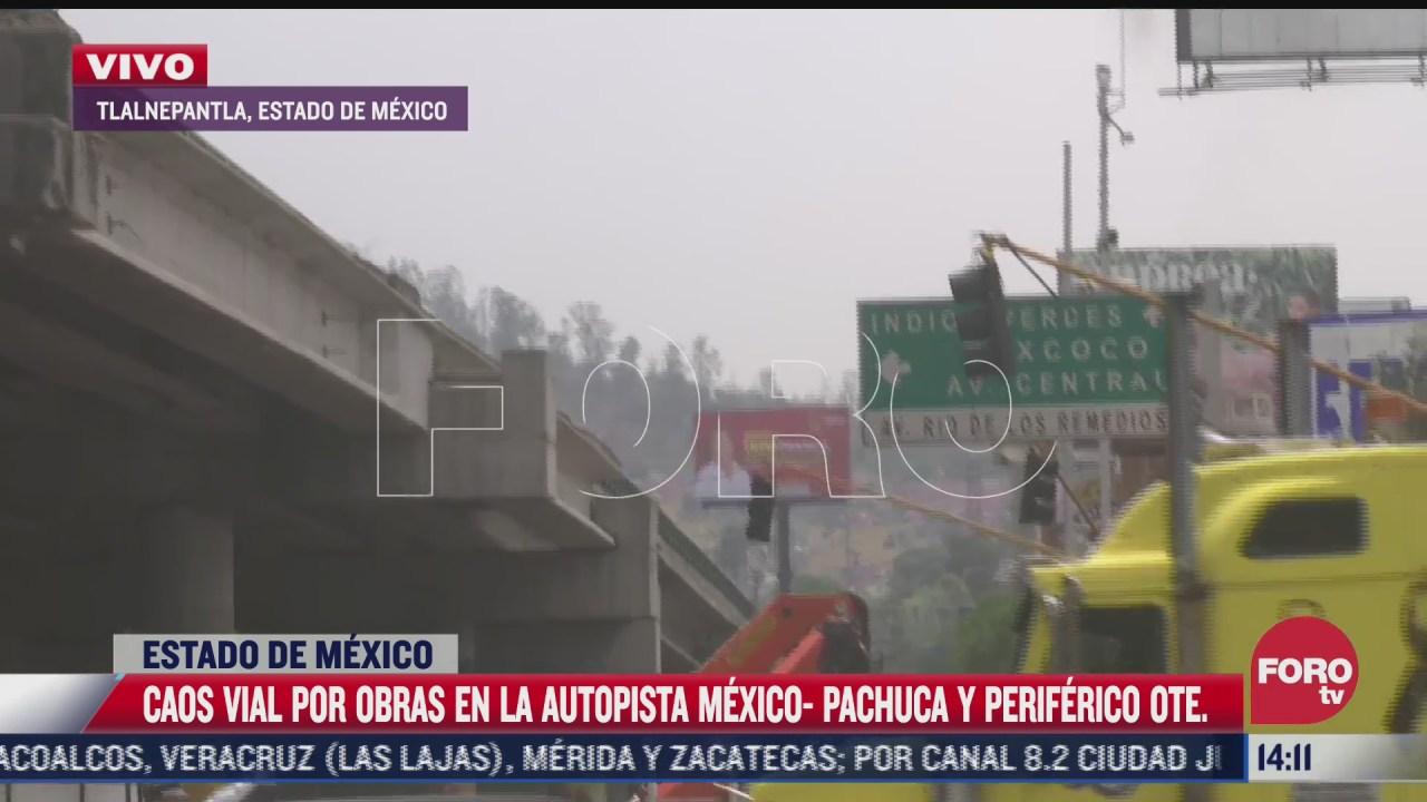 caos vial por obras en la carretera mexico pachuca
