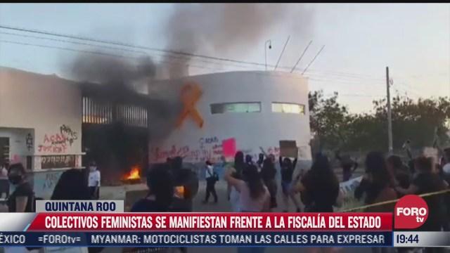 colectivos feministas protestan frente a fiscalia de quintana roo