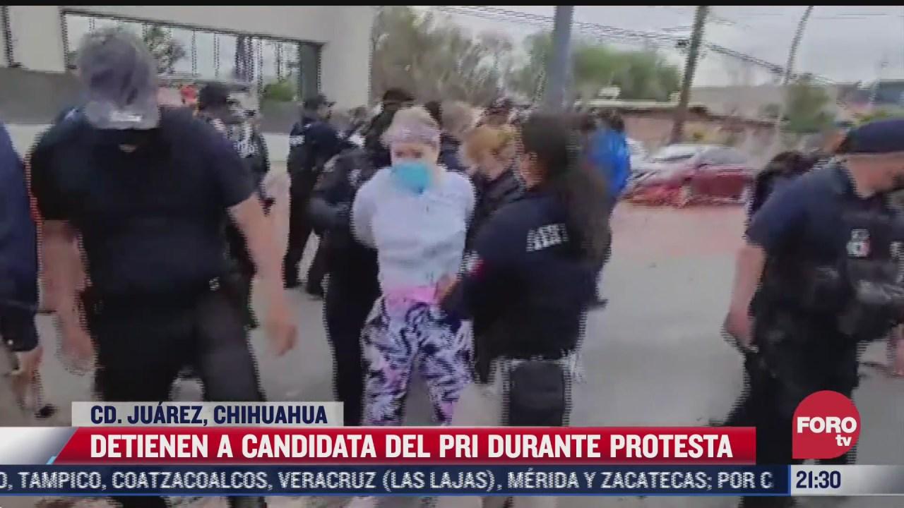detienen a candidata del pri durante manifestacion en ciudad juarez