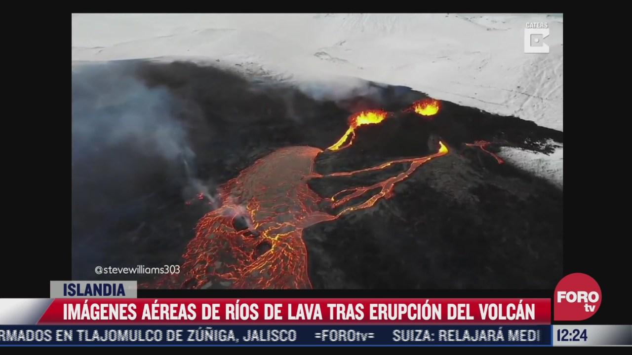 dron capta espectaculares imagenes de erupcion de volcan en islandia