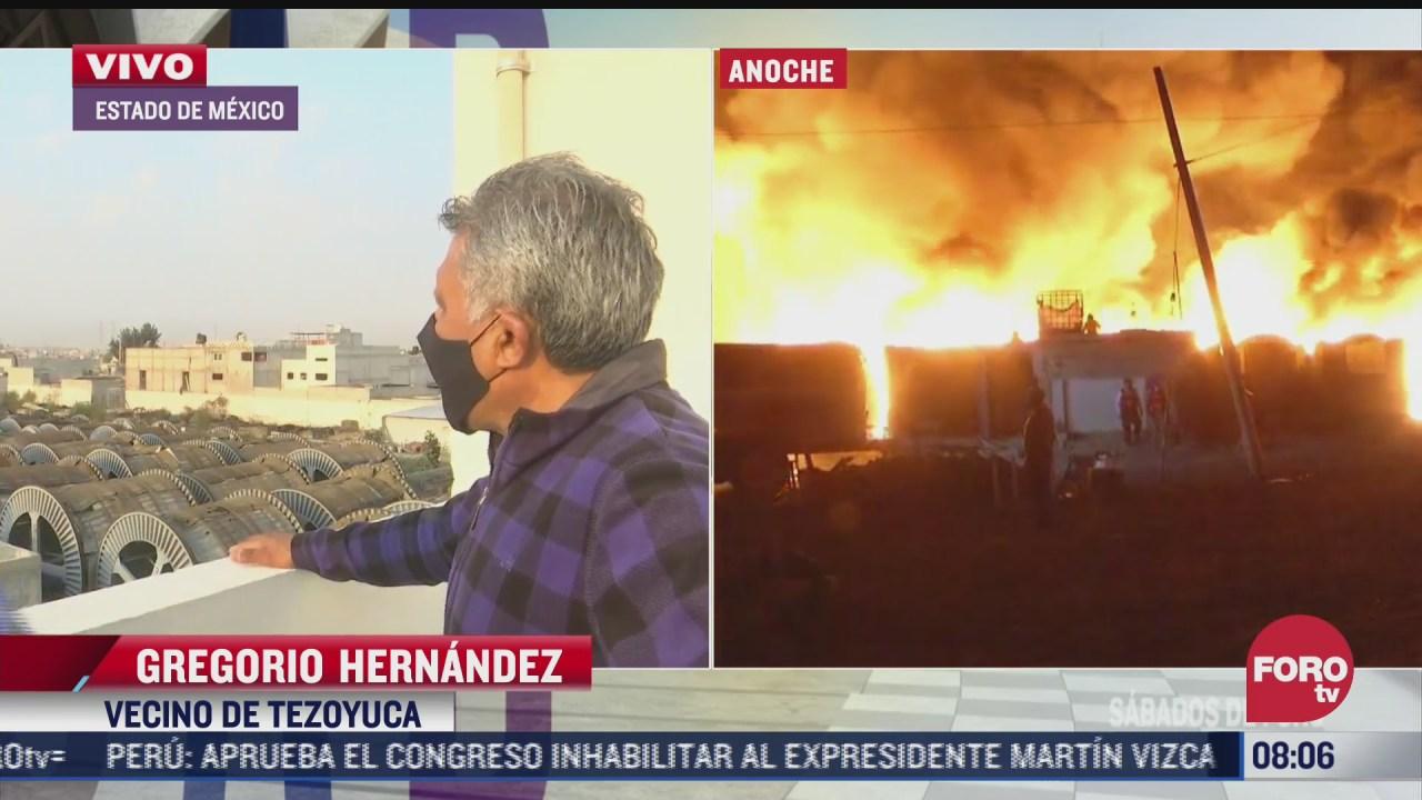 evacuados regresan a sus casas tras incendio de fabrica en el estado de mexico