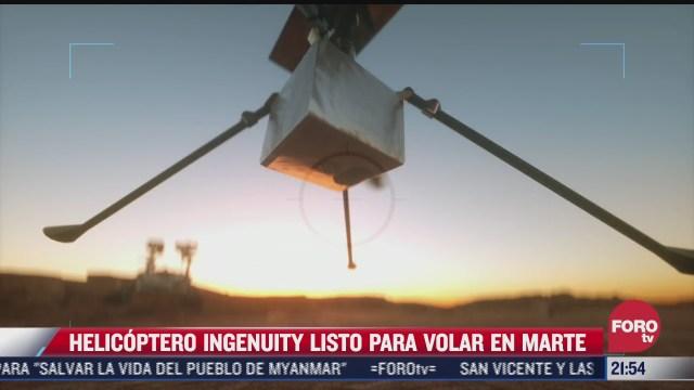 helicoptero ingenuity prepara primer vuelo en marte