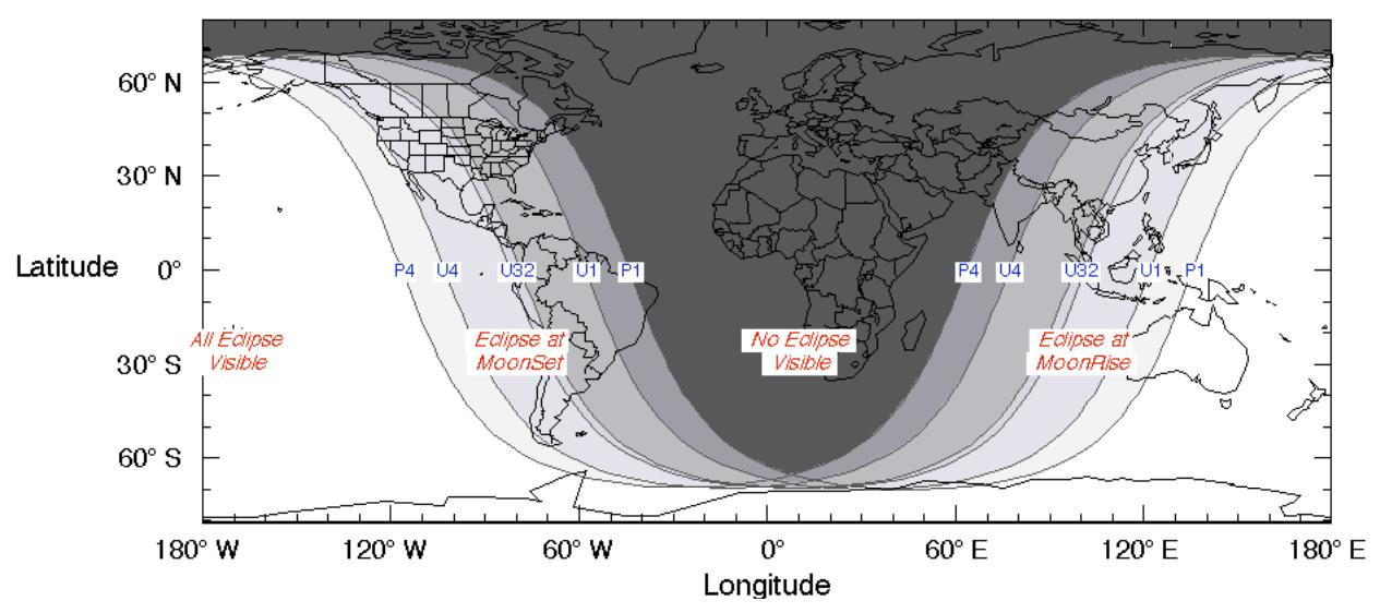 mapa, eclipse, luna, mayo