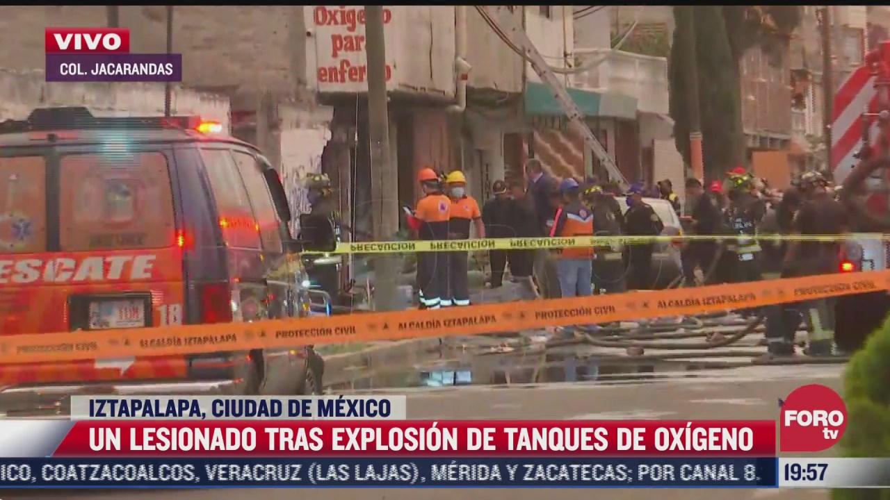 se registra explosion de tanques de oxigeno en iztapalapa
