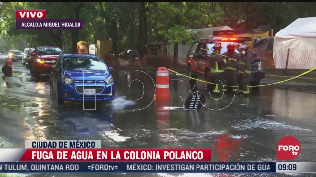 se registra mega fuga de agua potable en colonia polanco cdmx