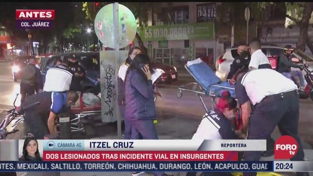 vehiculo impacta a dos motociclistas en insurgente cdmx