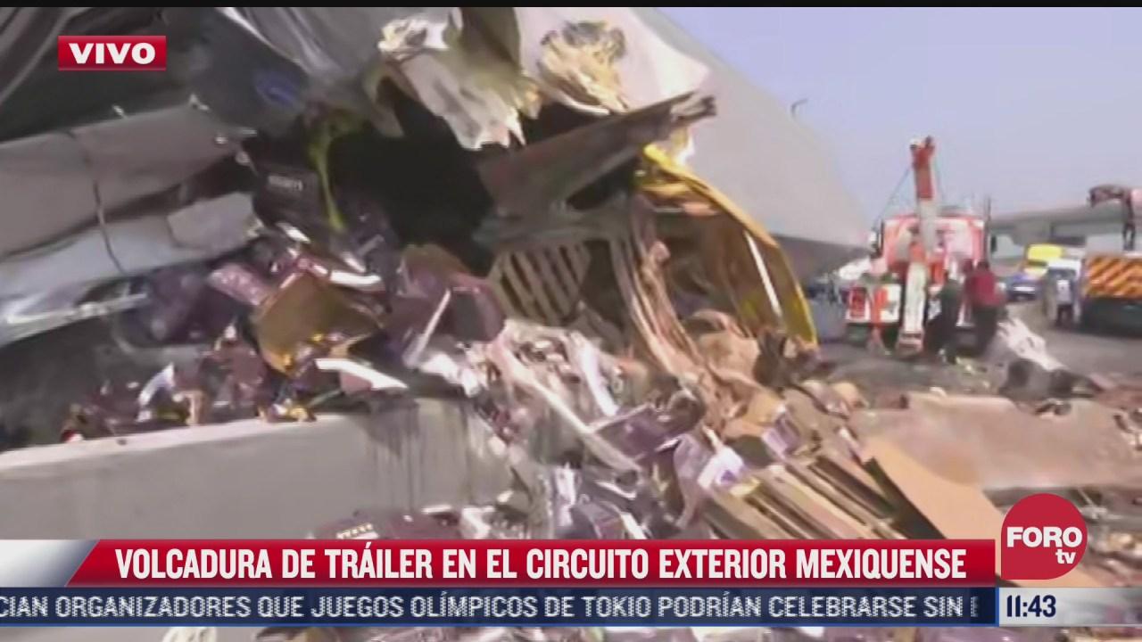 vuelca trailer en circuito interior exterior mexiquense