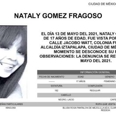 Activan Alerta Amber para localizar a Nataly Gómez Fragoso