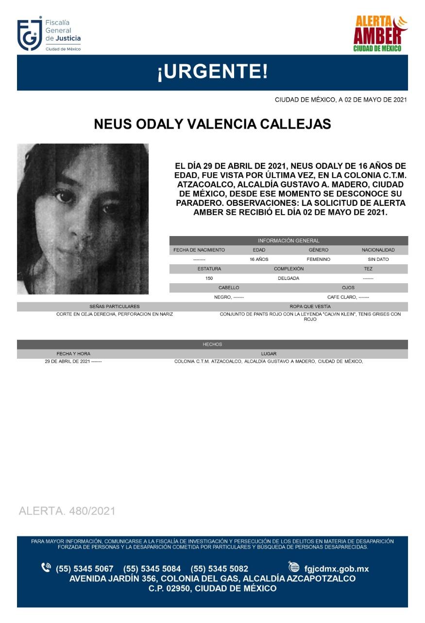 Activan Alerta Amber para localizar a Neus Odaly Valencia Callejas