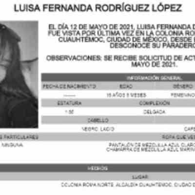 Activan Alerta Amber para localizar a Luisa Fernanda Rodríguez López
