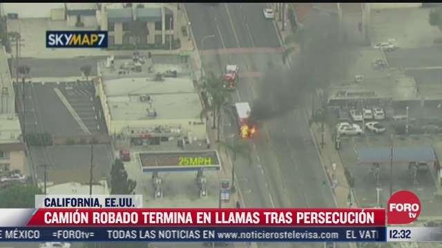 camion robado en california termina incendiado