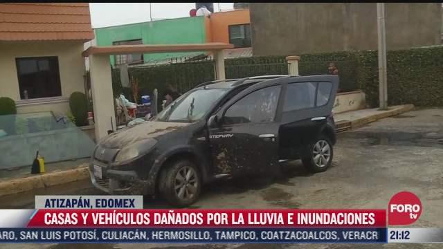 casas y vehiculos de atizapan sufren danos por lluvias