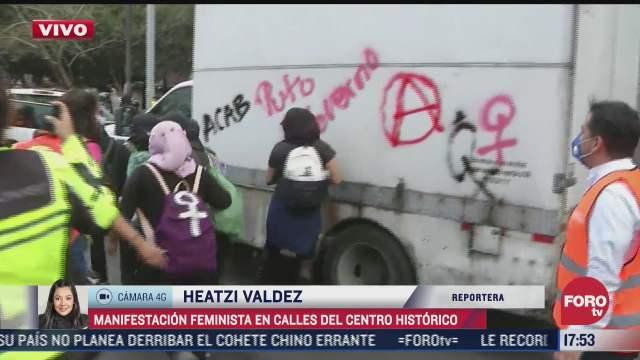 continua protesta feminista en el centro de la cdmx