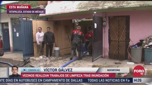 continuan trabajos de limpieza en ixtapaluca tras inundaciones