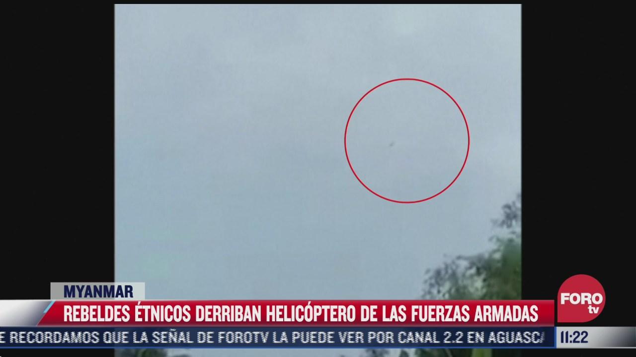 difunden imagenes del momento que fue derribado un helicoptero