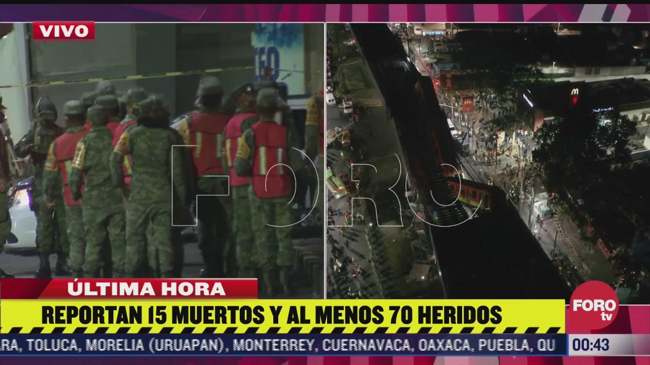 ejercito mexicano arriba a la zona del accidente de la linea 12 del metro