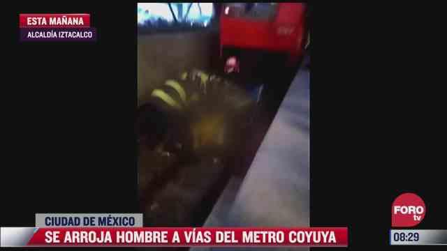 hombre se arroja a las vias de la estacion coyuya del metro